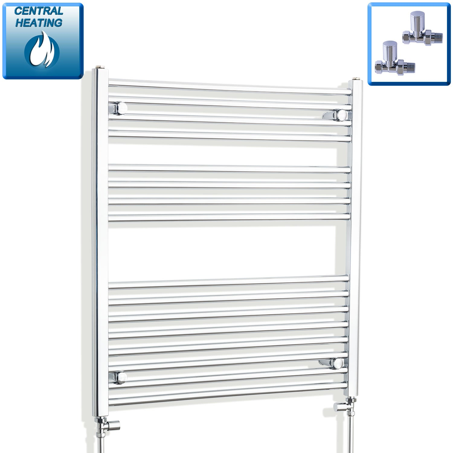 900mm Wide 900mm High Chrome Towel Rail Radiator With Straight Valve
