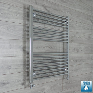 1000mm Wide 900mm High Chrome Towel Rail Radiator With Straight Valve