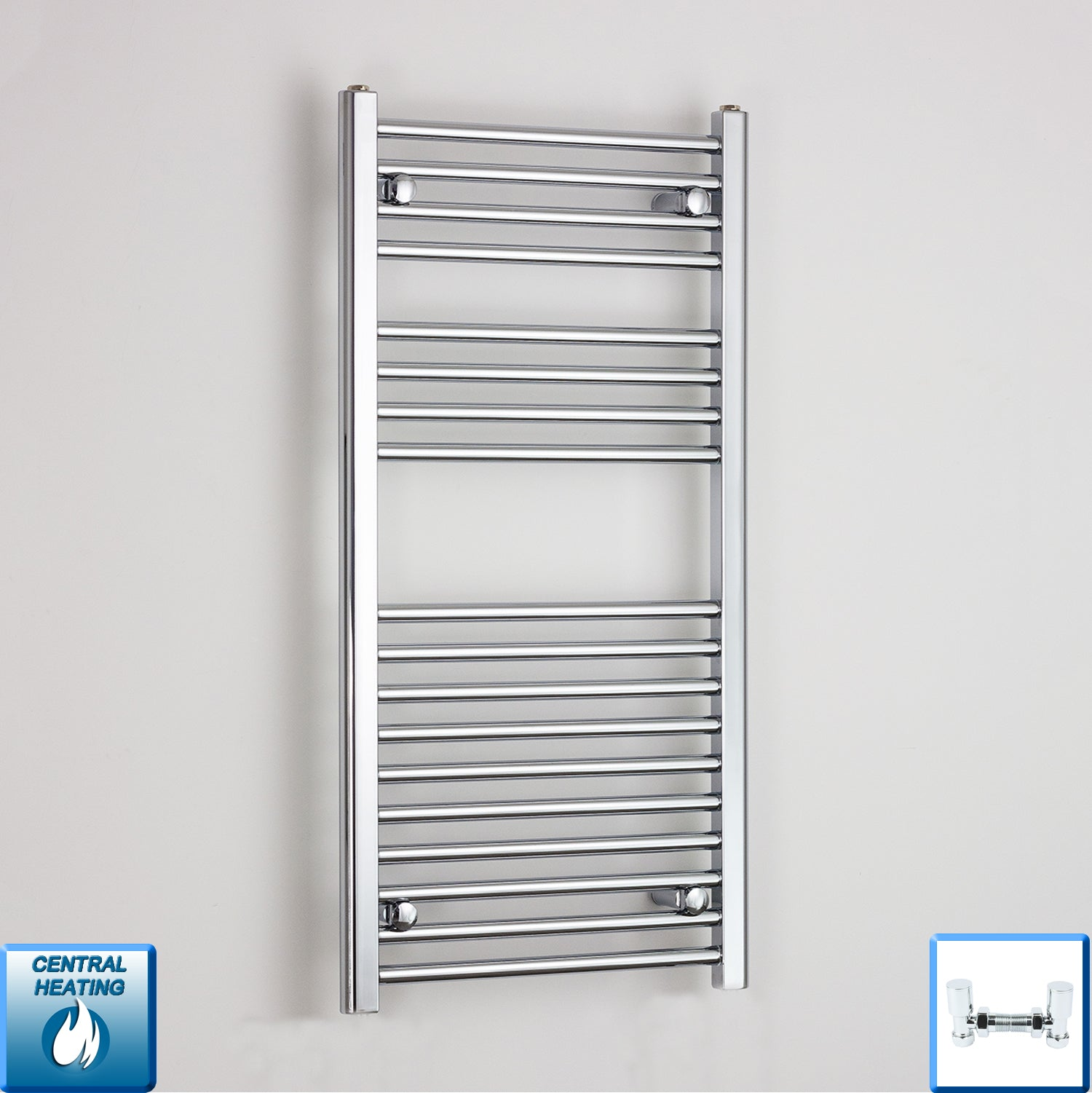 500mm Wide 1000mm High Chrome Towel Rail Radiator With Angled Valve