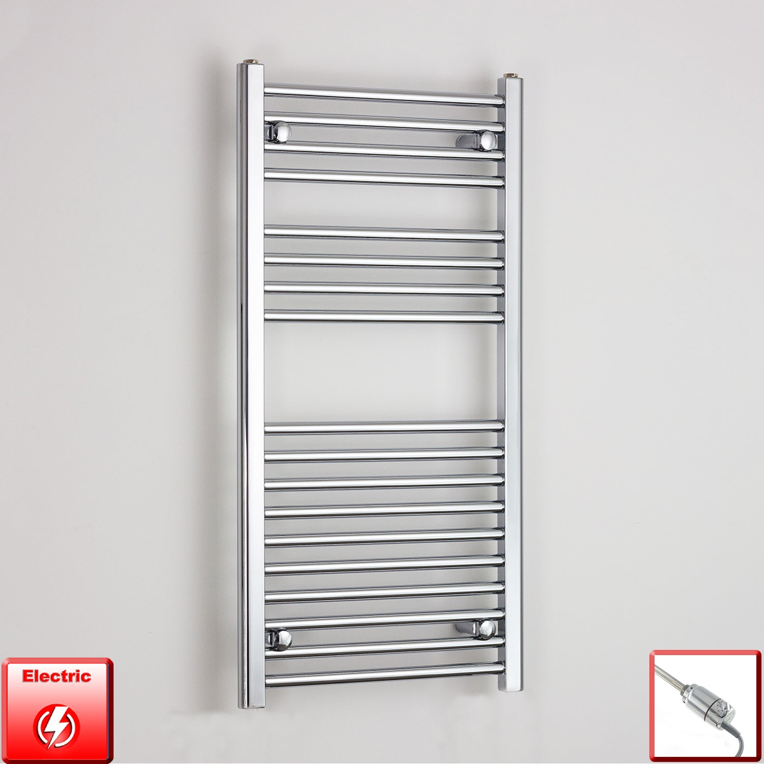 600mm Wide 1000mm High Pre-Filled Chrome Electric Towel Rail Radiator With Thermostatic GT Element