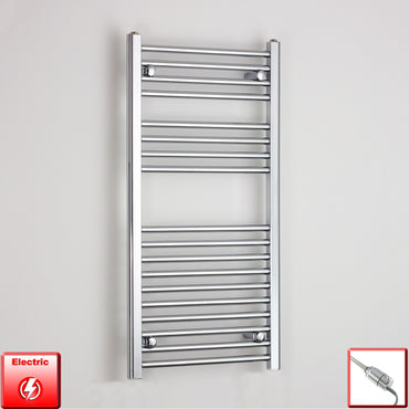 500mm Wide 1000mm High Pre-Filled Chrome Electric Towel Rail Radiator With Thermostatic GT Element