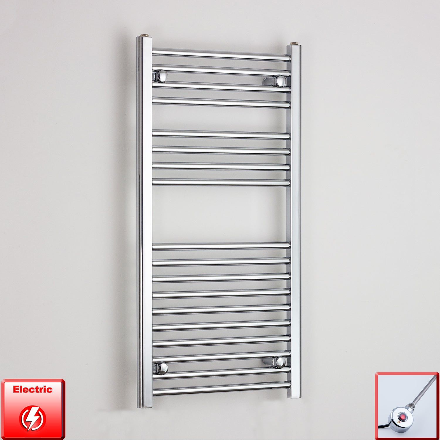 400mm Wide 1000mm High Pre-Filled Chrome Electric Towel Rail Radiator With Ecoradco on off Single Heat Element