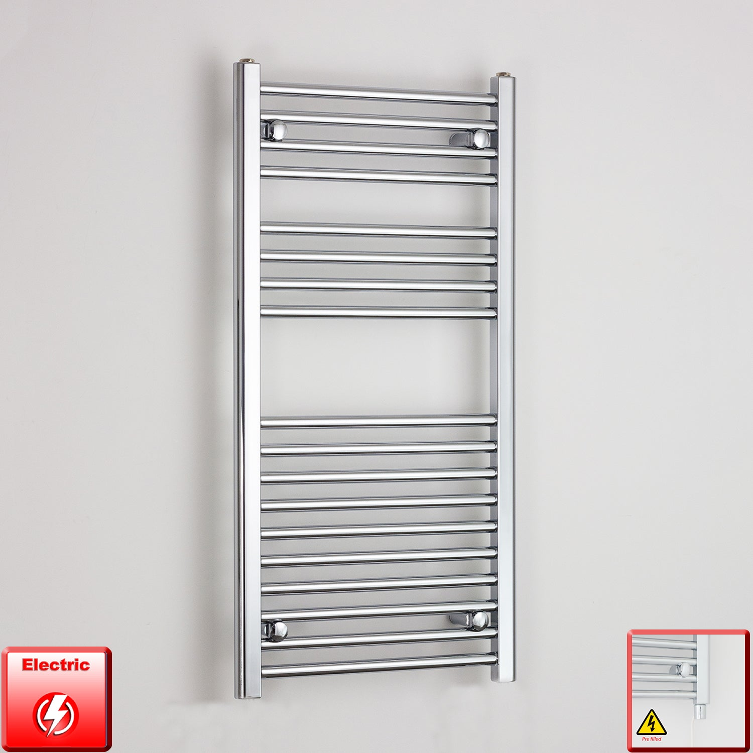 600mm Wide 1000mm High Pre-Filled Chrome Electric Towel Rail Radiator With Single Heat Element