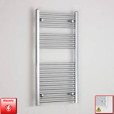 500mm Wide 1000mm High Pre-Filled Chrome Electric Towel Rail Radiator With Single Heat Element
