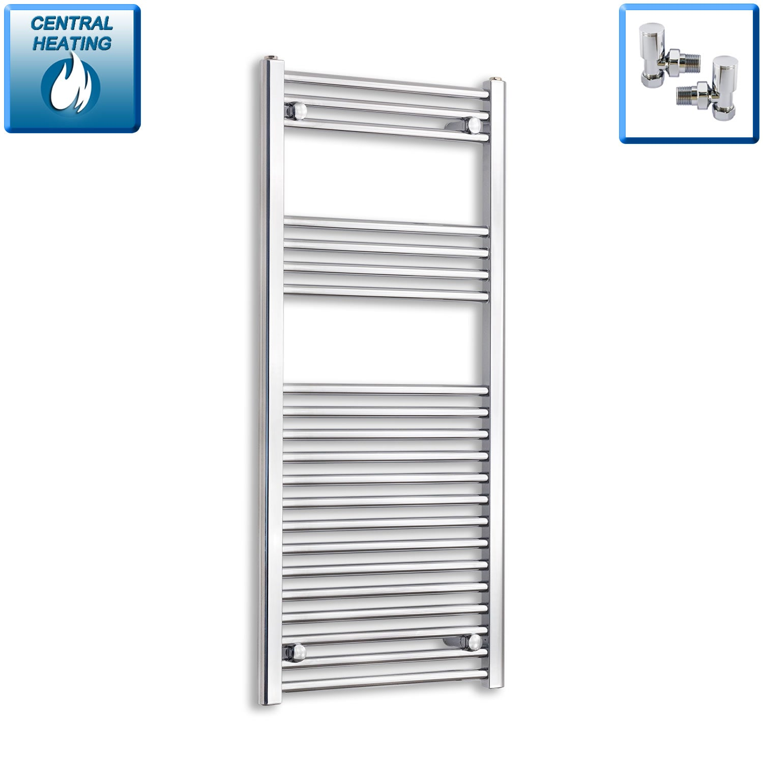 600mm Wide 1100mm High Chrome Towel Rail Radiator With Angled Valve