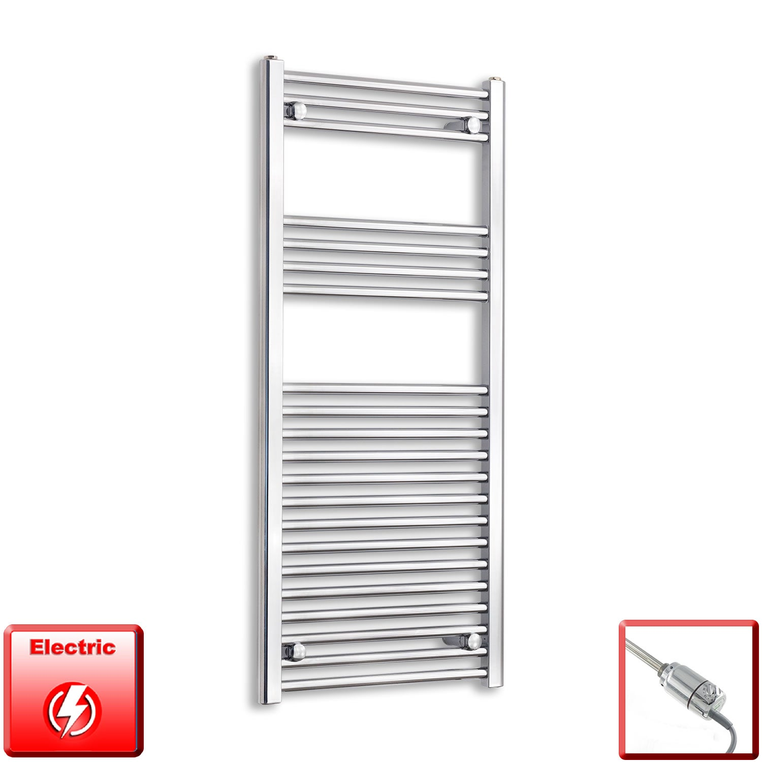600mm Wide 1100mm High Pre-Filled Chrome Electric Towel Rail Radiator With Thermostatic GT Element