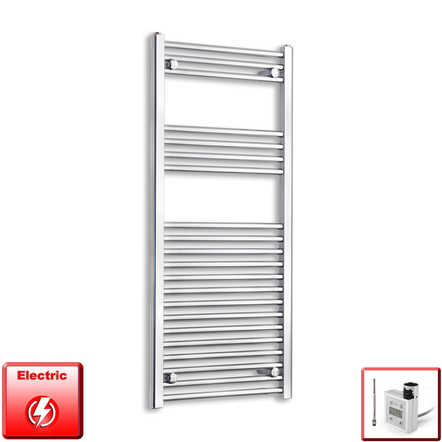 600mm Wide 1100mm High Pre-Filled Chrome Electric Towel Rail Radiator With Thermostatic KTX3 Element