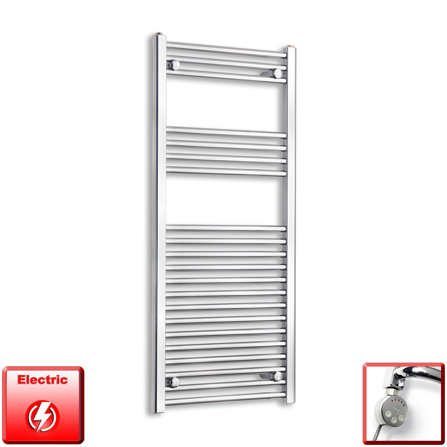 600mm Wide 1100mm High Pre-Filled Chrome Electric Towel Rail Radiator With Thermostatic MEG Element