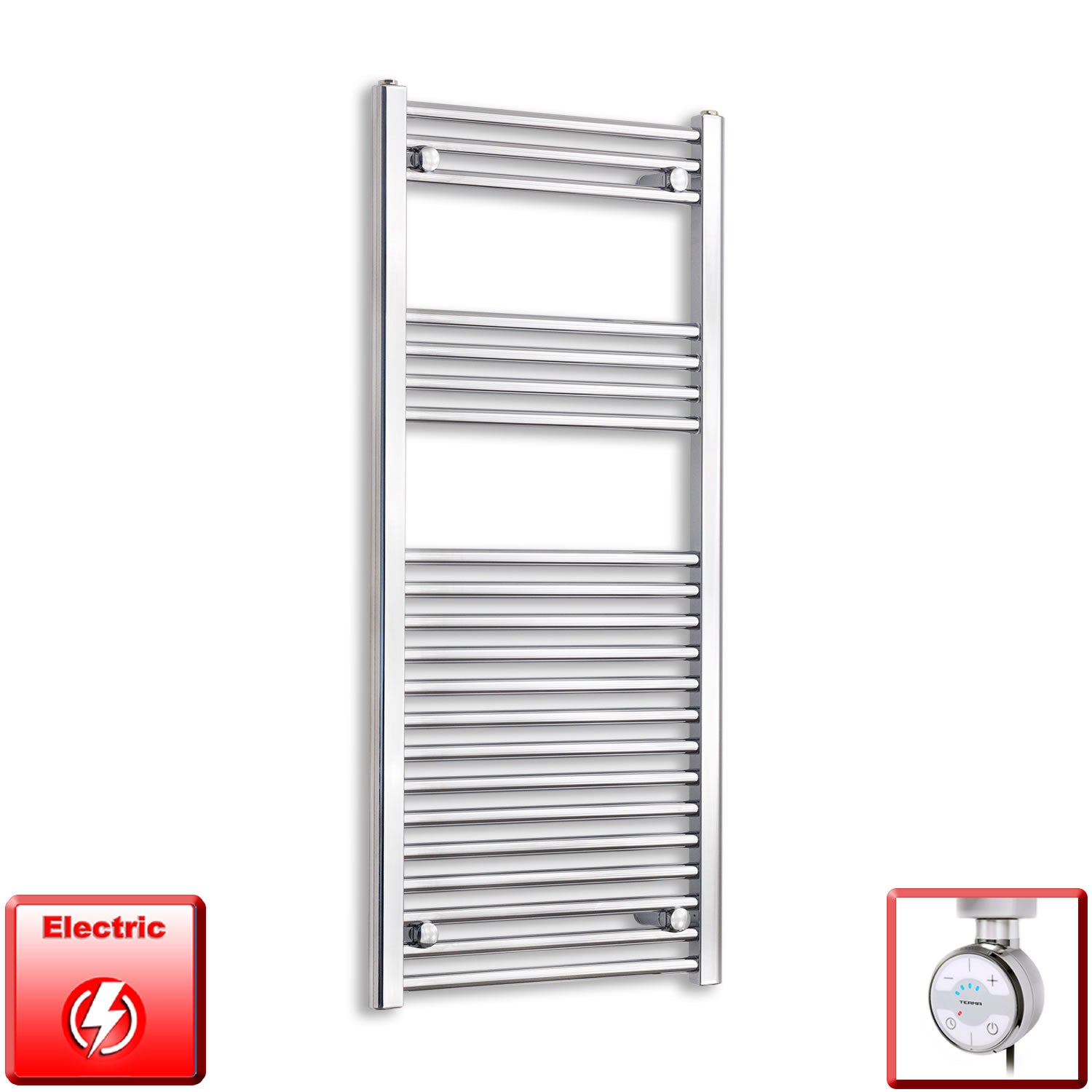 600mm Wide 1100mm High Pre-Filled Chrome Electric Towel Rail Radiator With Thermostatic MOA Element