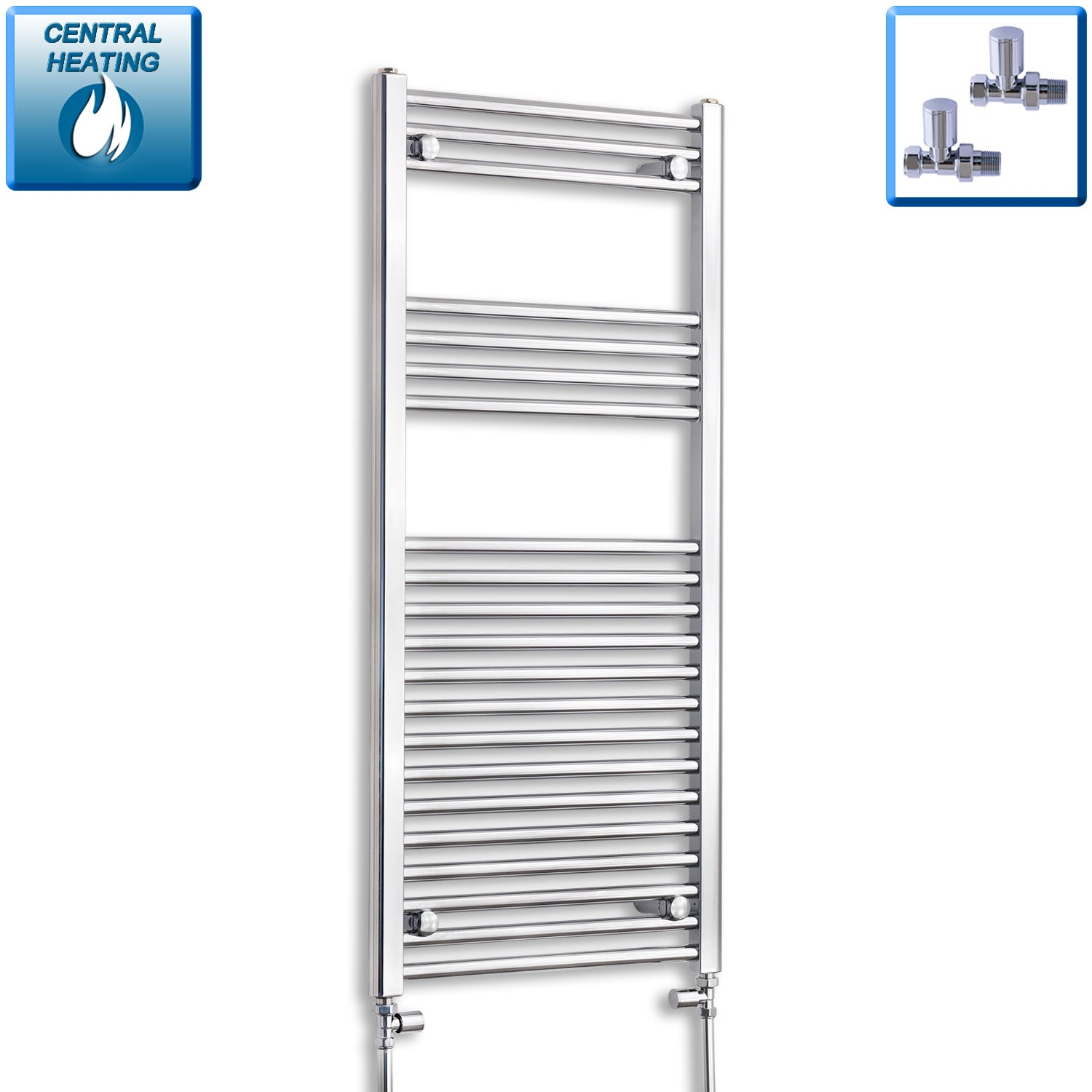 500mm Wide 1100mm High Chrome Towel Rail Radiator With Straight Valve