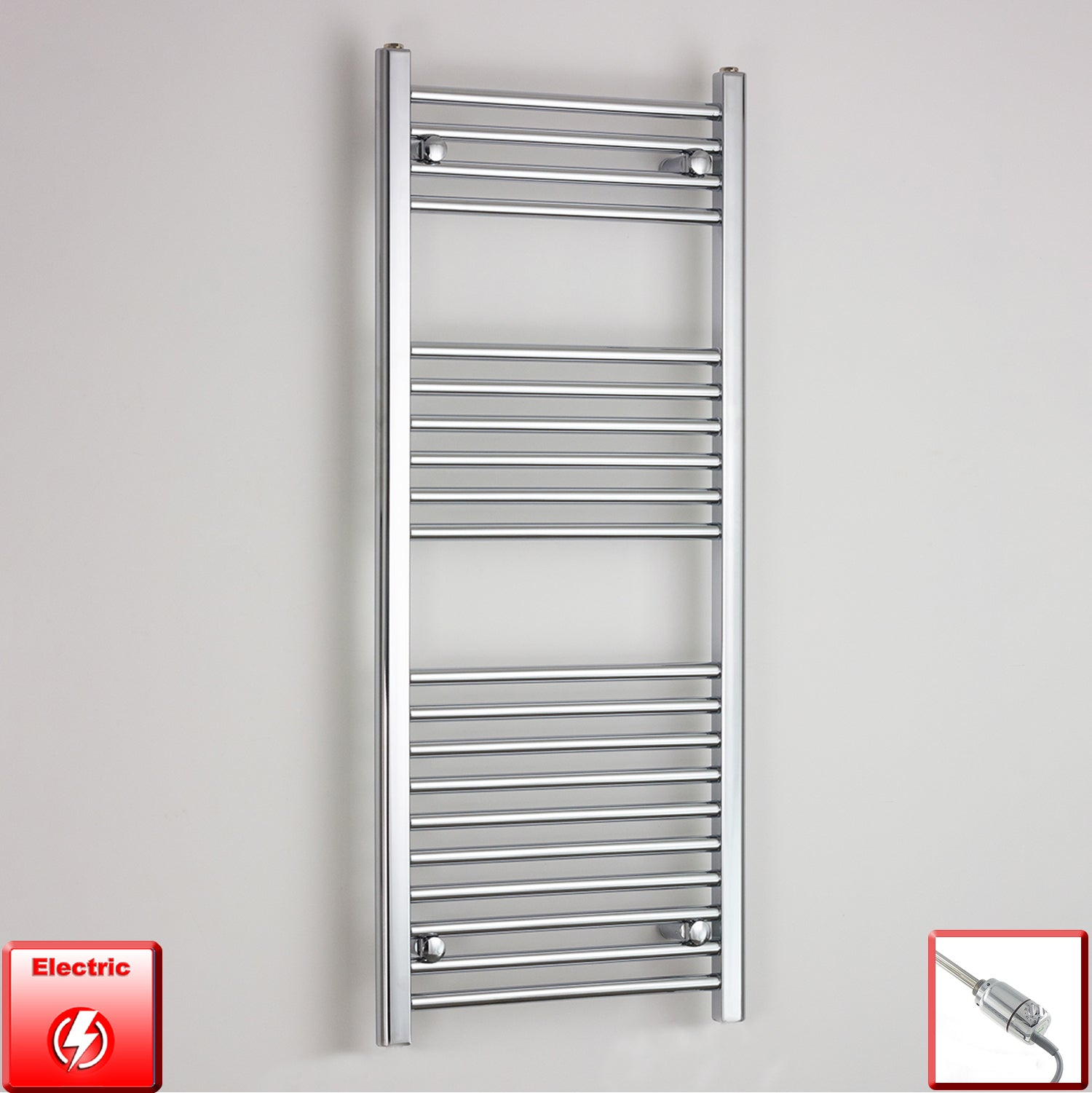 400mm Wide 1200mm High Pre-Filled Chrome Electric Towel Rail Radiator With Thermostatic GT Element