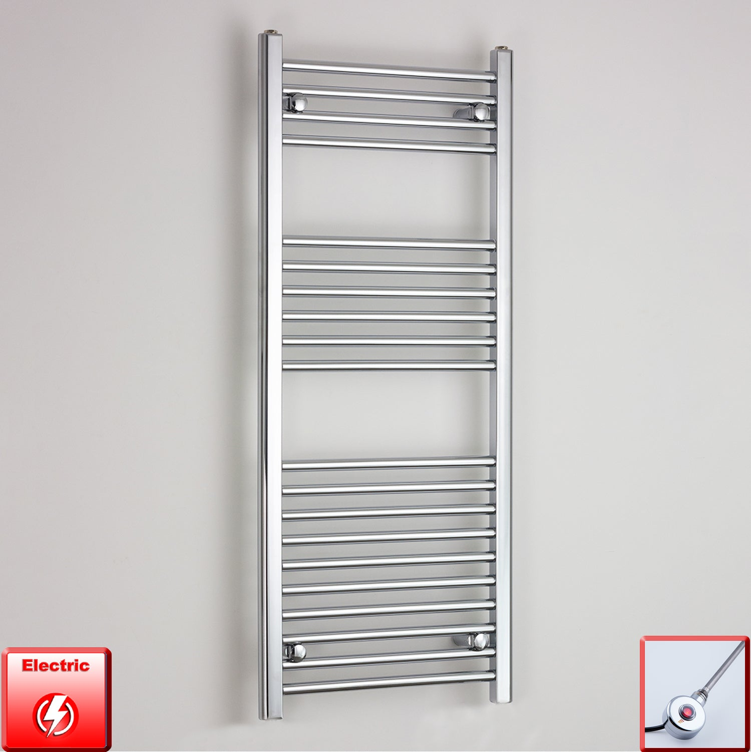 500mm Wide 1200mm High Pre-Filled Chrome Electric Towel Rail Radiator With Ecoradco on off Single Heat Element