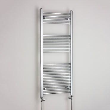 600mm Wide 1200mm High Chrome Towel Rail Radiator With Straight Valve