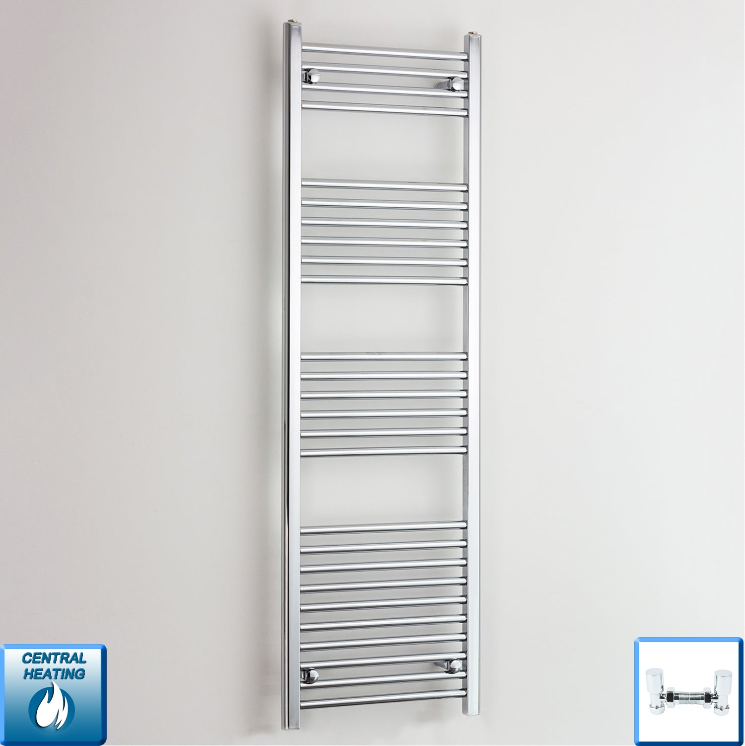 600mm Wide 1600mm High Chrome Towel Rail Radiator With Angled Valve