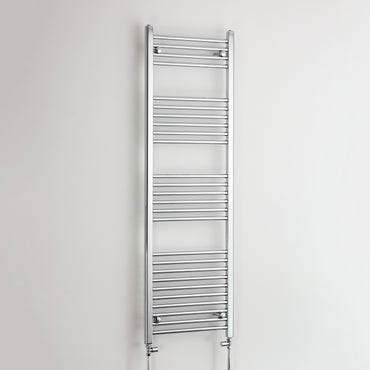 600mm Wide 1600mm High Chrome Towel Rail Radiator With Straight Valve