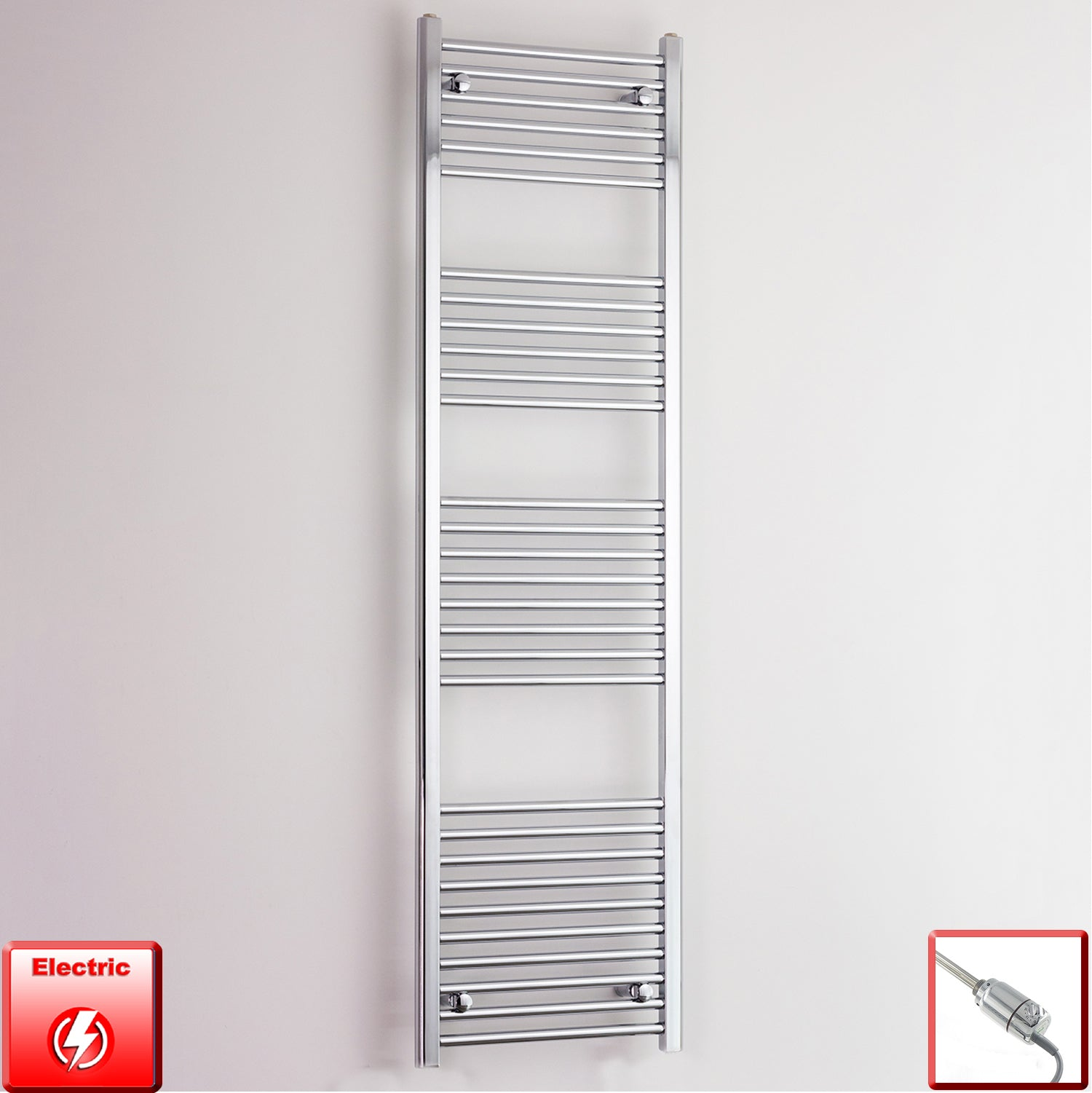 500mm Wide 1800mm High Pre-Filled Chrome Electric Towel Rail Radiator With Thermostatic GT Element