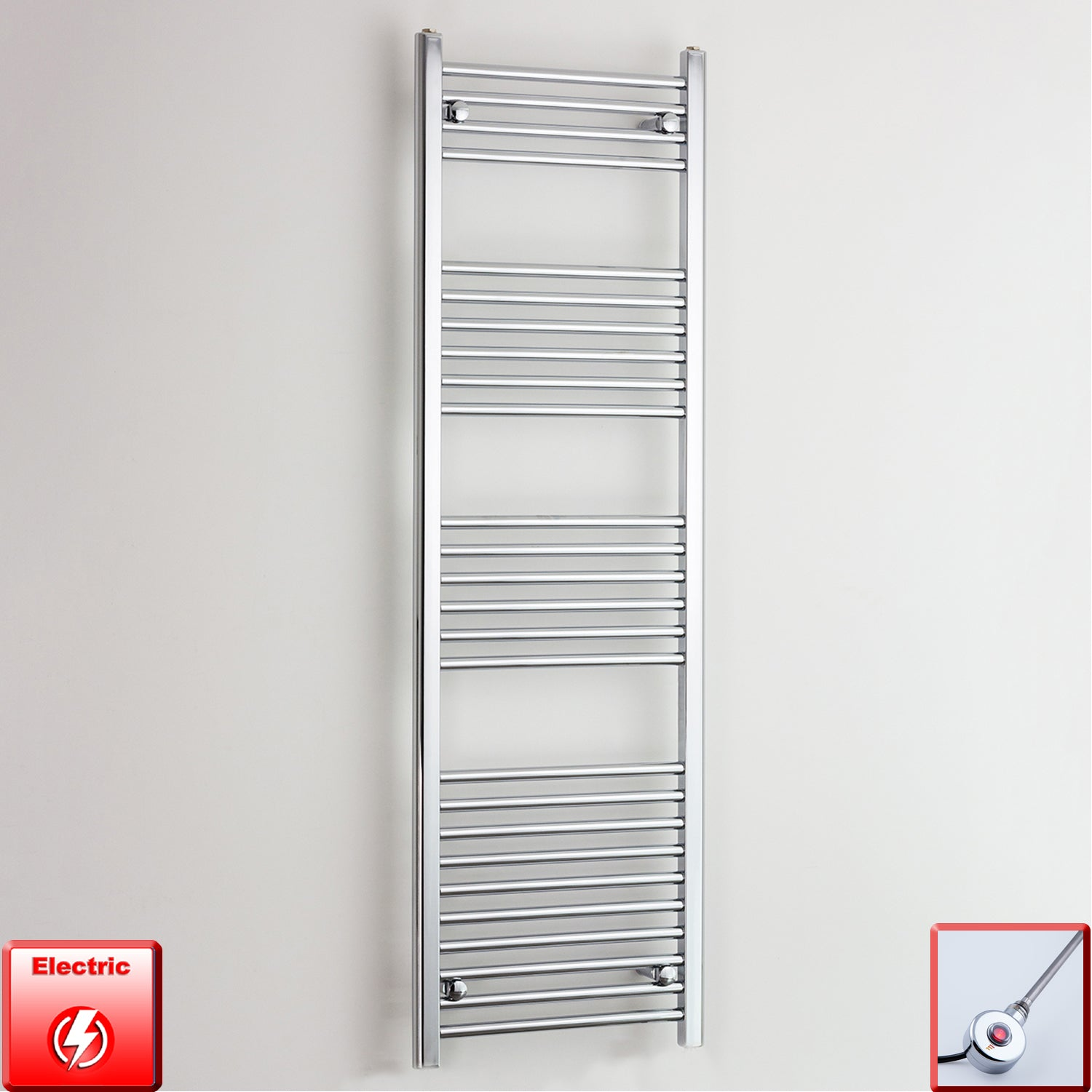 600mm Wide 1800mm High Pre-Filled Chrome Electric Towel Rail Radiator With Ecoradco on off Single Heat Element