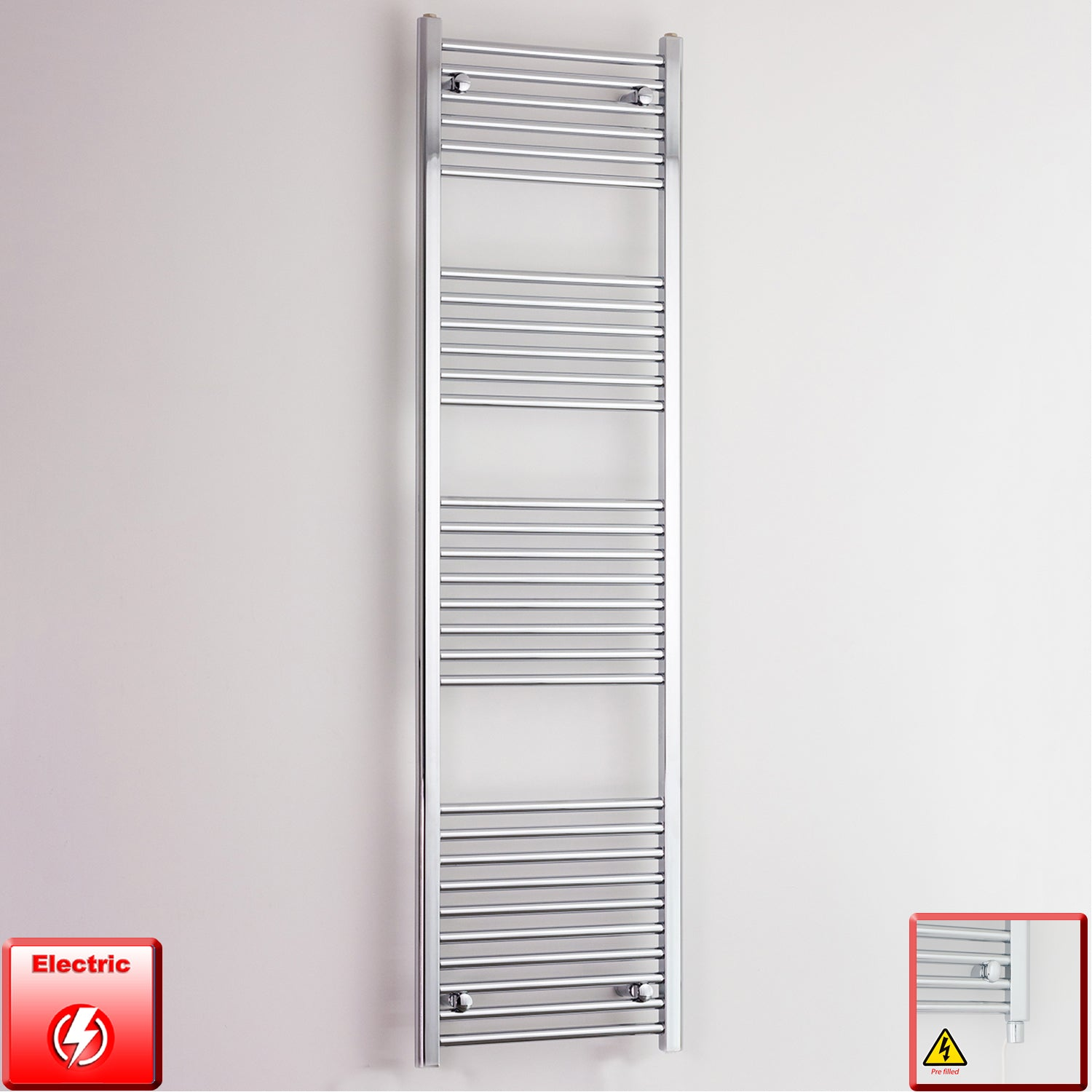 600mm Wide 1800mm High Pre-Filled Chrome Electric Towel Rail Radiator With Single Heat Element