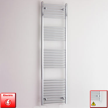 500mm Wide 1800mm High Pre-Filled Chrome Electric Towel Rail Radiator With Single Heat Element