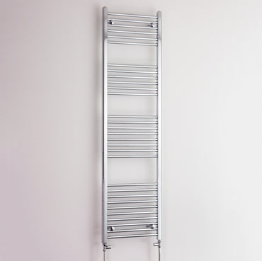400mm Wide 1800mm High Chrome Towel Rail Radiator With Straight Valve