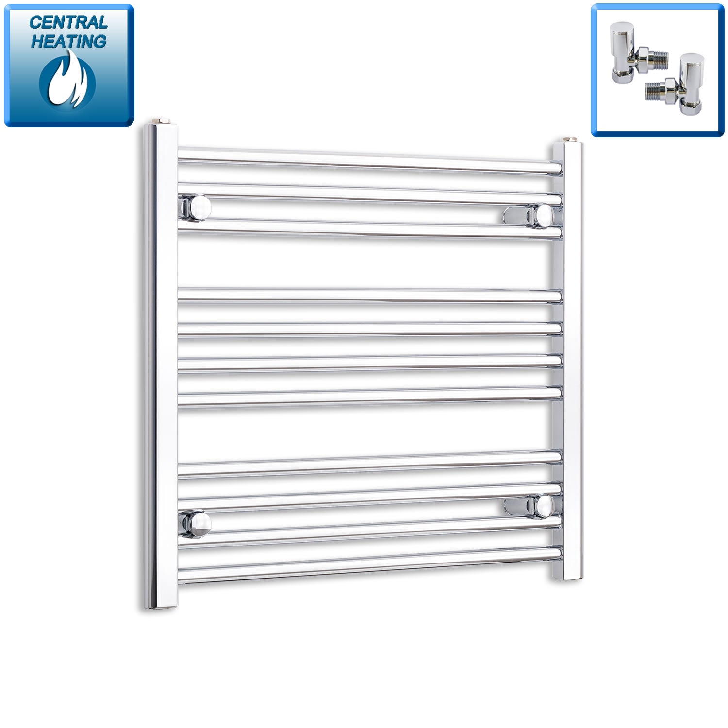 600mm Wide 600mm High Chrome Towel Rail Radiator With Angled Valve