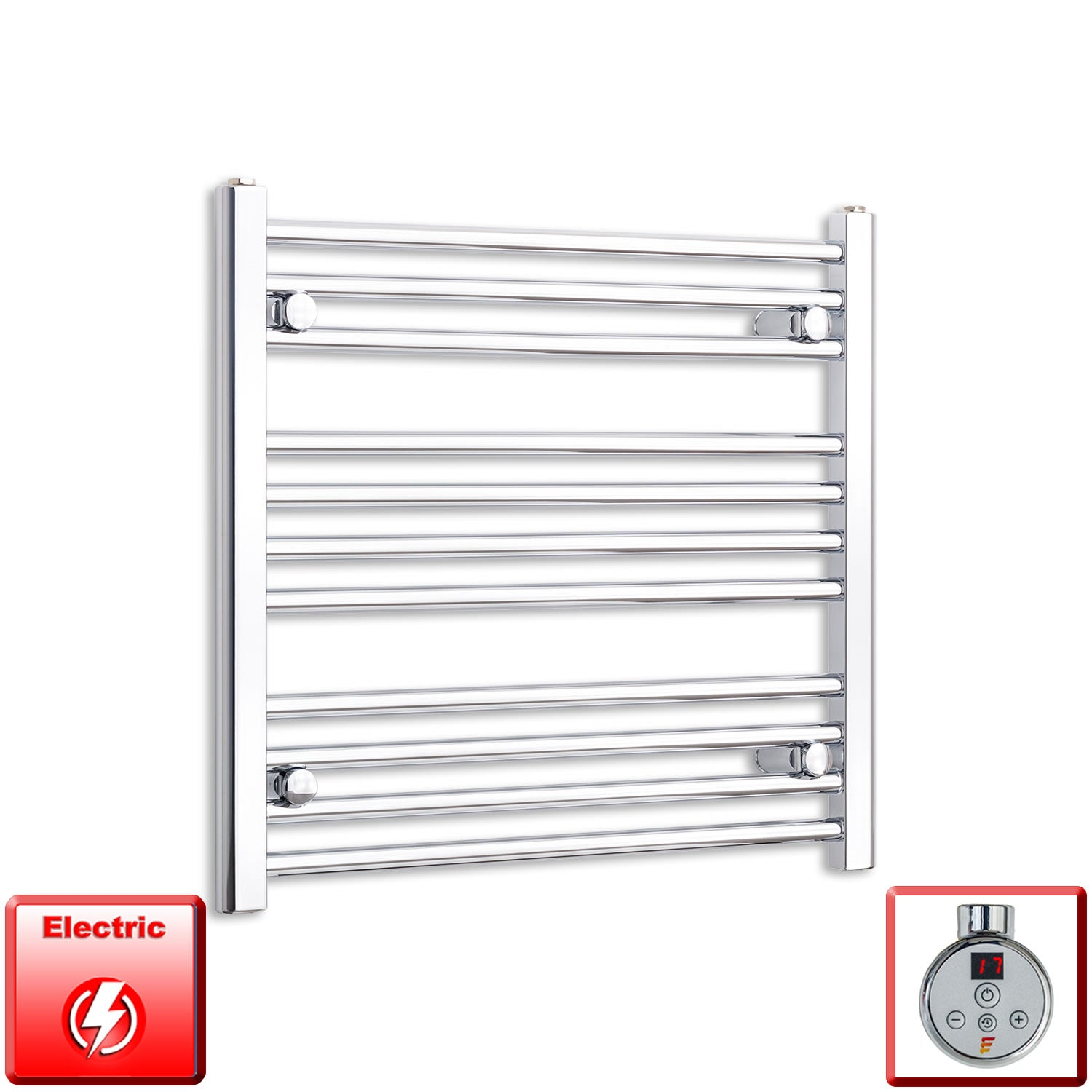 600mm High 600mm Wide Pre-Filled Electric Heated Towel Rail Radiator Straight or Curved Chrome