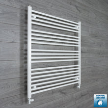 Load image into Gallery viewer, 1200mm Wide 1000mm High White Towel Rail Radiator With Straight Valve