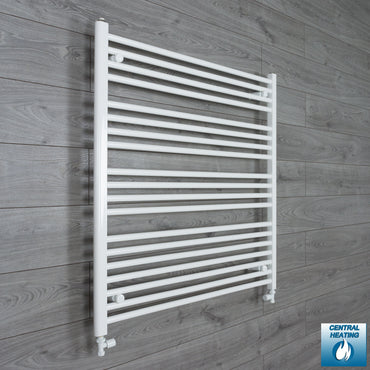 1000mm Wide 1000mm High White Towel Rail Radiator With Straight Valve