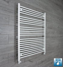 Load image into Gallery viewer, 1000mm Wide 1200mm High White Towel Rail Radiator With Straight Valve