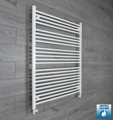 1000mm Wide 1200mm High White Towel Rail Radiator With Straight Valve