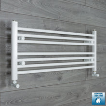 Load image into Gallery viewer, 950mm Wide 400mm High White Towel Rail Radiator With Angled Valve