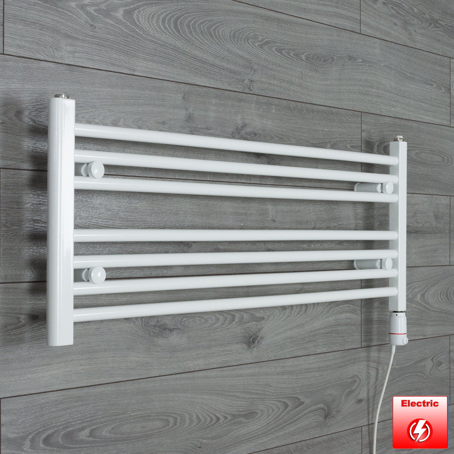 1100mm Wide 400mm High Pre-Filled White Electric Towel Rail Radiator With Thermostatic GT Element