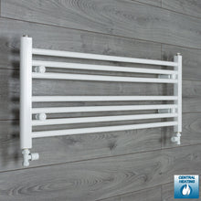 Load image into Gallery viewer, 950mm Wide 400mm High White Towel Rail Radiator With Straight Valve