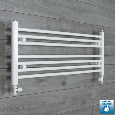 1100mm Wide 400mm High White Towel Rail Radiator With Straight Valve