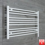 1100mm Wide 600mm High Pre-Filled White Electric Towel Rail Radiator With Thermostatic GT Element