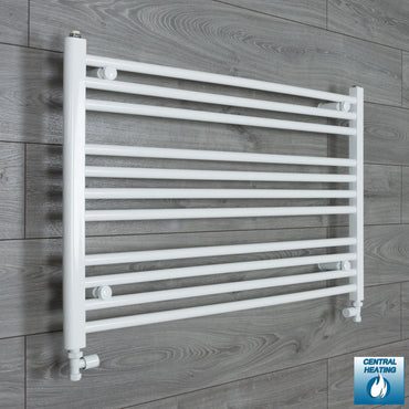 1000mm Wide 600mm High White Towel Rail Radiator With Straight Valve