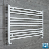 1100mm Wide 600mm High White Towel Rail Radiator With Straight Valve