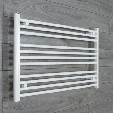 1100x600mm Flat White Electric Element Towel Rail
