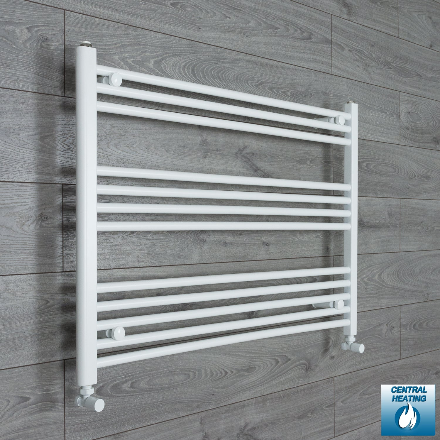 1000mm Wide 700mm High White Towel Rail Radiator With Angled Valve