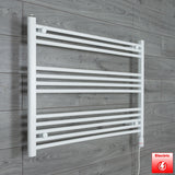 1000mm Wide 700mm High Pre-Filled White Electric Towel Rail Radiator With Thermostatic GT Element