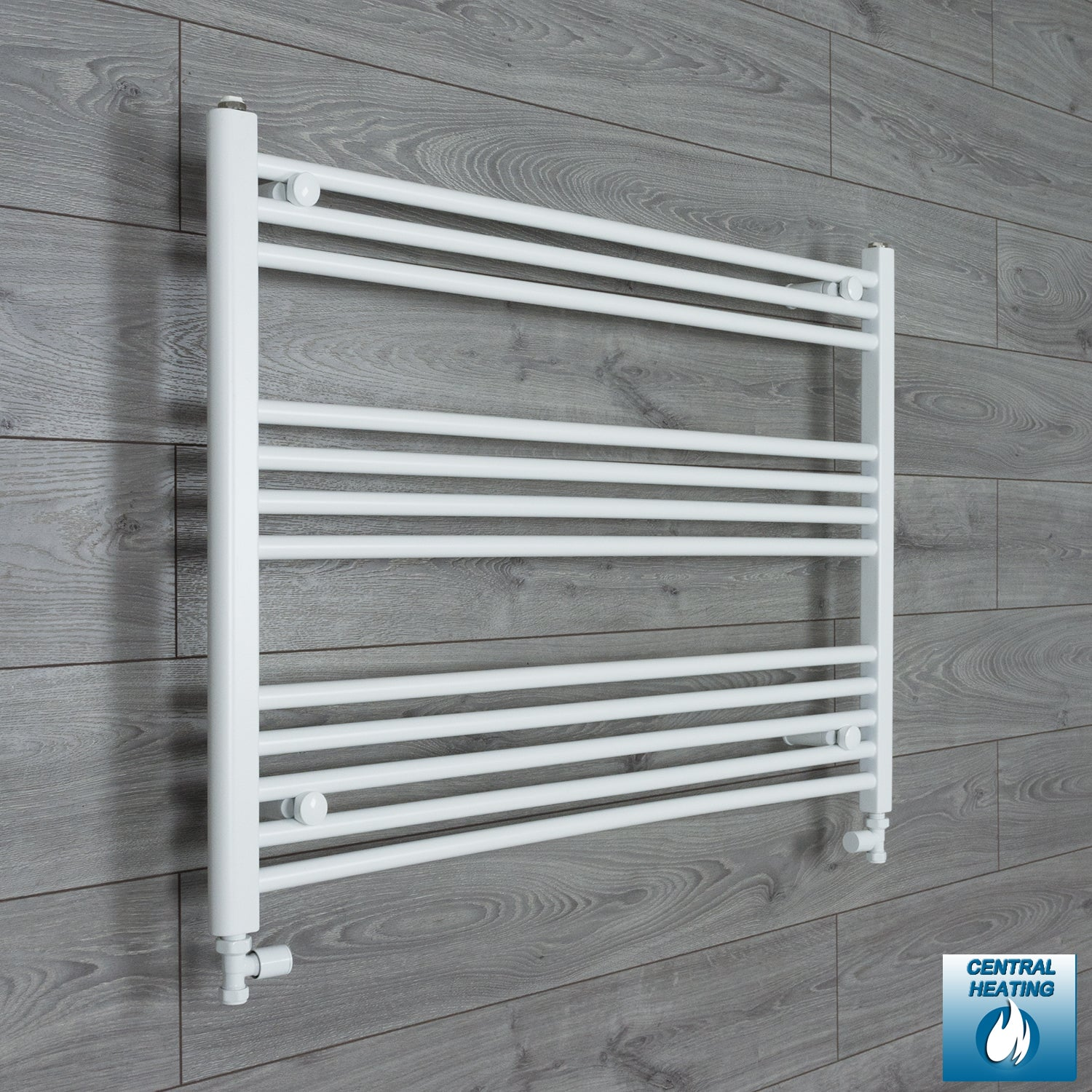 1000mm Wide 700mm High White Towel Rail Radiator With Straight Valve