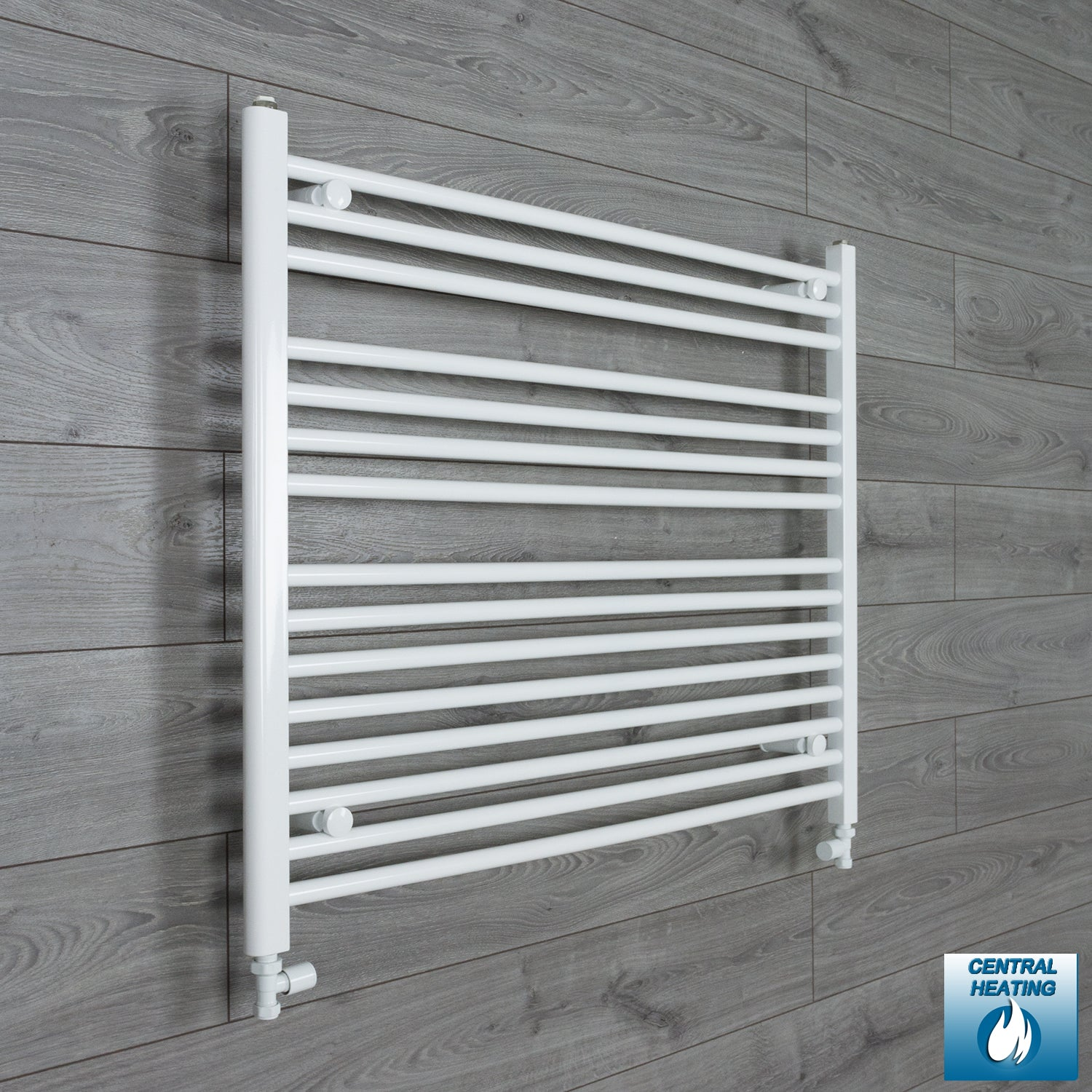 950mm Wide 800mm High White Towel Rail Radiator With Straight Valve