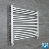 1000mm Wide 800mm High White Towel Rail Radiator With Straight Valve