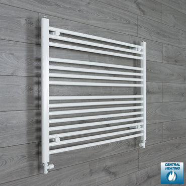 1100mm Wide 800mm High White Towel Rail Radiator With Straight Valve