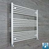 1000mm Wide 900mm High White Towel Rail Radiator With Angled Valve