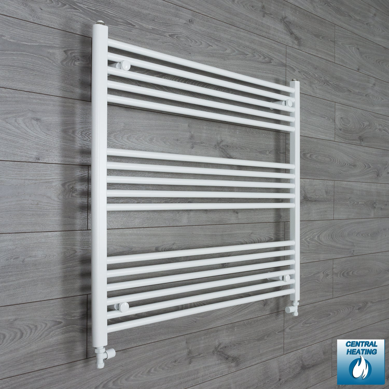 1000mm Wide 900mm High White Towel Rail Radiator With Straight Valve