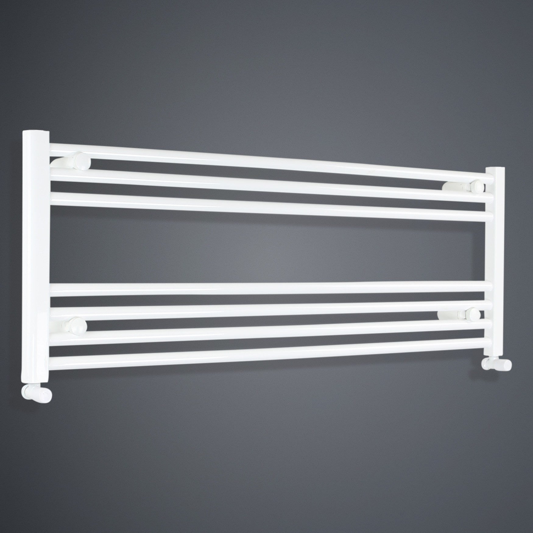 1300mm Wide 400mm High White Towel Rail Radiator With Angled Valve