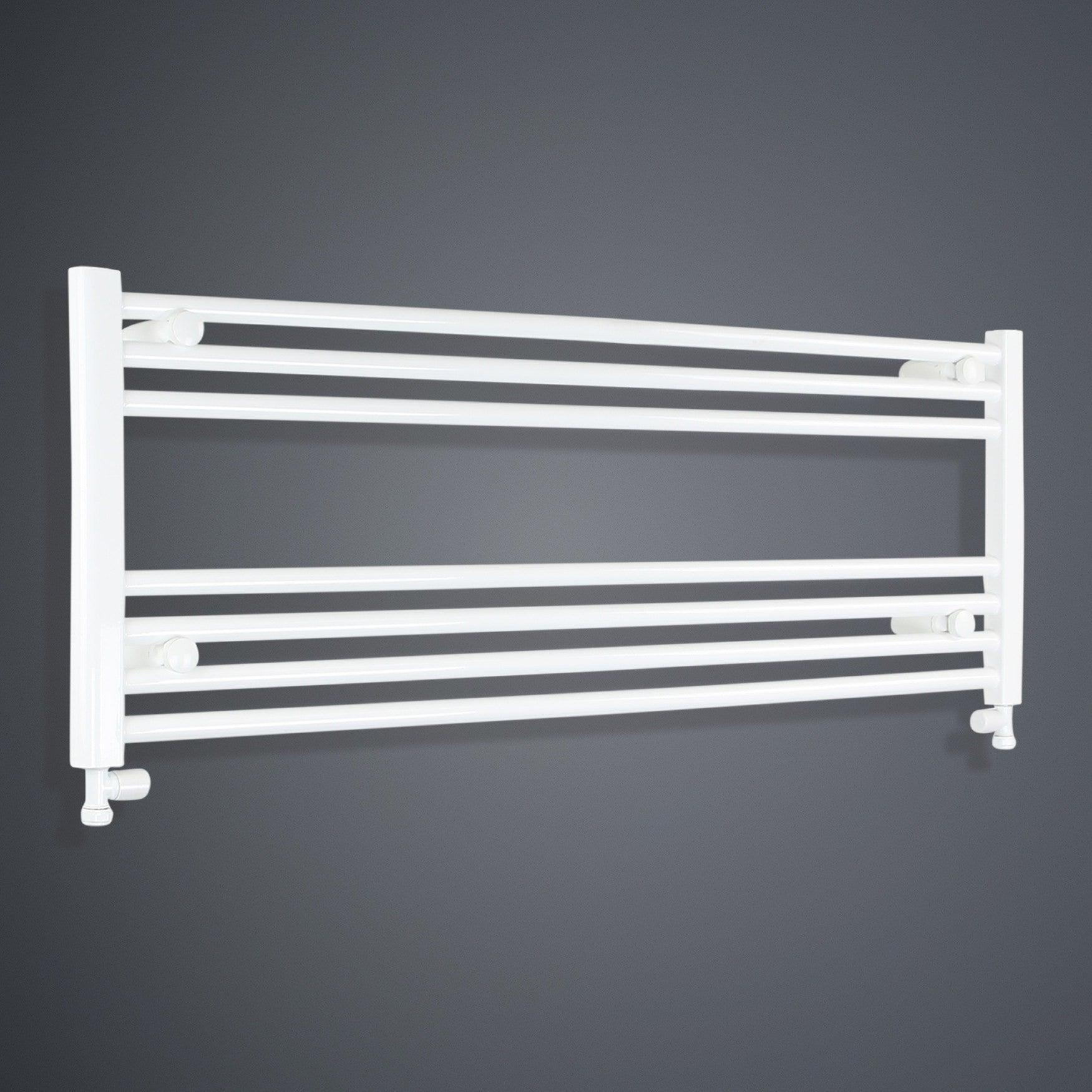 1300mm Wide 400mm High White Towel Rail Radiator With Straight Valve