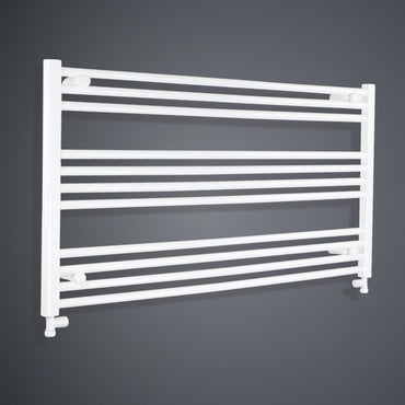 1300mm Wide 600mm High White Towel Rail Radiator With Straight Valve