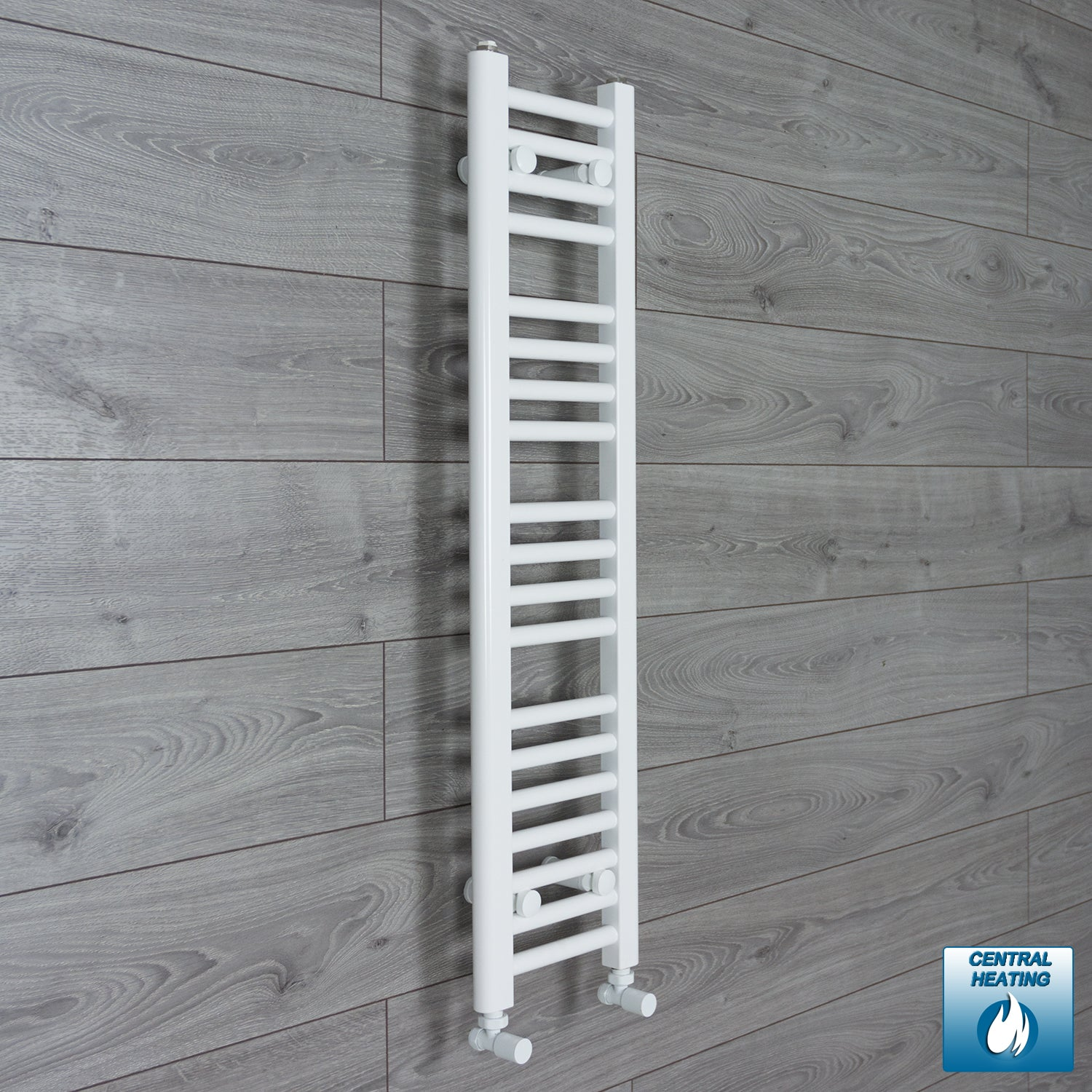 200mm Wide 1000mm High White Towel Rail Radiator With Angled Valve